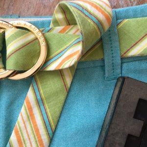 LAUREN•RALPH LAUREN Linen Striped Brass Ring Belt